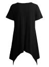 Summer  Asymmetric  V Neck Short Sleeve Solid Loose Casual Women's T-Shirt
