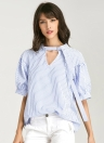 Summer Solid Color Stripe Print V Puff Oversized Casual Women's Blouse