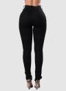 Fashion Denim Hollow Out Lace-Up bolsos de cremallera Slim Mujer Jeans lápiz