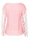 Frauen Floral Crochet Spitze Spleißen Drop Shoulders aushöhlen Long Sleeve T-Shirt