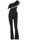 Mode Femmes une épaule volants Slim Jumpsuit