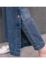 Pantalones de pierna ancha de denim de mujer Pantalones de cintura de gancho lateral dividida de snap