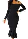 Mermaid Dress Manga comprida Off Shoulder Spaghetti Strap Party Vestido Midi