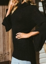 Les femmes à manches longues High-Low ourlet Bandage Split pull pull pull tricoté