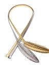 Nueva moda mujer correa hebilla frente estiramiento resorte cintura correa elastizada oro/astilla