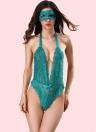 Сексуальное женское бельё Sheer Lace Halter Deep V Neck Elastic Jumpsuit Эротическое нижнее белье