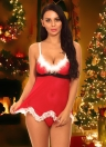 Sexy Women Christmas Lingerie Set Sheer Mesh Santa Babydoll Fur Trim Кружево без спинки Платье G-String Ночная одежда
