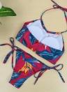 Nuove donne Sexy Bikini Set floreale Print Halter Wireless imbottito due pezzi costume da bagno costumi da bagno costumi da bagno rosa