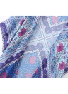 Donne Kimono cardigan chiffon di estate camicetta di Boho stampa floreale lungo allentato Beach Cover Up Blu