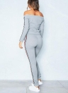 Женский спортивный костюм с полосатой печатью с плечами с длинным рукавом 2 шт.