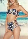 Frauen Print Rüschen Bandage aushöhlen Seite hohe Taille gepolsterte zwei Stück Bikini Set