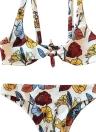 Women Front Tie Push Up Flower Printed Beach Bikini Set