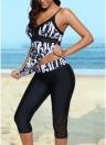 Vintage Women Tankini Capris Deep V Impresso Cruz Over Backless Swimsuit
