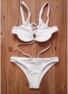 Sexy Frauen Riemchen Bikini Set tiefem V-Ausschnitt rückenfreie niedrige Taille Thong Bikini Bademode Badeanzug