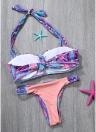 Sexy Frauen Strappy Halter Bikini Set Kontrast Print Backless Low Waist Ausschnitt Tanga Biquini Swimwear Badeanzug