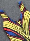 Mulheres Sexy Traje de banho de uma peça de banho Trajes de banho africanos Imprimir Monokini Push Up Banquete de banho com biquíni acolchoado Beachwear
