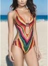 Frauen Badeanzug Plunge V gepolsterte bunte Häkelanleitungen Rainbow Print Bandage Cut Backless Sexy Monokini