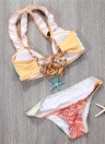 Sexy Women Bikini Set Spaghetti Strap Contrast Color Bandage Cross Lacing Мягкие беспроводные купальники Желтый