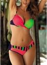 Kontrastfarbe Block Padded Push Up Frauen Bikini Set