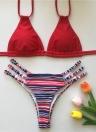 Bikini da donna con stampa floreale a fascia e allacciato al collo