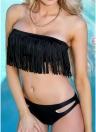 Frauen Tassel Bikini Set ausgeschnitten Badeanzug Badeanzug