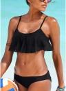 Bikini increspato da donna con cinturino imbottito regolabile in vita bassa