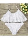 Frauen Rüschen Bikini Set aushöhlen verstellbaren Gurt Polsterung niedrige Taille