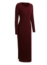 Knitted Long Dress Side Splits Rib Maxi Sweater Dress O-Neck Casual Slim Dress