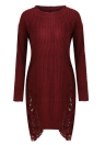 Women Ripped O Neck Long Sleeve Destroyed Irregular Pullover Sweater Dress