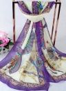 Delicate Chinese Folding Fan Floral Print Scarf