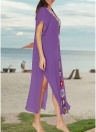 Crochet Knit Tiefem V-Ausschnitt Kurzarm Side Split Beach Cover Up