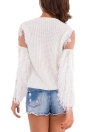 Knitted Lace Fluffy Faux Fur O-Neck Long Sleeve Sweater