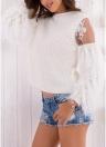 Maglione a maniche lunghe con scollo a V in pelliccia sintetica soffice in maglia di pizzo