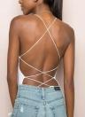 Crisscross Bandage - Collants mi-longs solides et collants