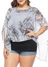 Mujeres Plus Size gasa Tops Hombro frío Contraste Bufandas Blusas Tees