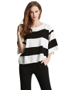 Casual O Neck Half Sleeve Stripe Design Knitted White Sweater Top