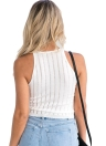 Frauen Slim Strick-Camisole Top Hollow Out Tank Ärmellos Basic Solid Stretchy Weste Schwarz / Weiß