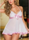 Halter Bowknot G-String Babydoll Lingerie Lace Dress
