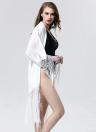 Nuove donne Sexy Bikini copricostume in Chiffon stampato nappa frange lunga Kimono spiaggia costume da bagno costumi da bagno nero/bianco
