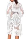 Mesh Floral Embroidery See Through Cardigan Bikini Beach Cover Up