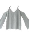 Suéter hecho punto de las mujeres cuello en V manga del flare frío manga correas Streetwear