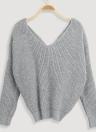 Suéteres de punto flojos de las mujeres con cuello en V espalda arco mangas largas Top hombro caída puente de punto casual Top