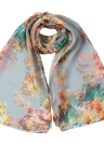 Special Print Contrast Color Long Thin Shawl