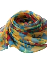 Nouveau Mode Femmes Foulard en mousseline de soie spéciale Contraste d'impression couleur à long Thin Châle Pashmina
