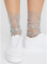 Harajuku Glitter Stars Socks Calcetines transparentes de malla para mujer