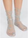 Harajuku Glitter Stars Socken Damen Transparent Mesh Socken