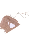 13pcs Wedding Decoration Flax Triangle Flag Banner White Heart Flag Linen Cloth Banners Wreath of Jute Rope Anniversary Party Banners
