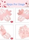50pcs Delicate Mini DIY Candy Cookie Gift Boxes Carved Pattern with Ribbon Party Wedding Banquet Bridal Supplies