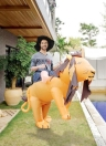 Anself Cute Adult Inflatable Lion Costume Suit Blow Up Fancy Dress Festival Party Inflatable Leo Outfit Jumpsuit Lovely Inflatable Animal Costume For Men Women