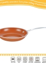 Non-stick Round Copper Frying Pan with Ceramic Coating and Induction Oven Skillets Brass Cooking Pot 9.5 Inch